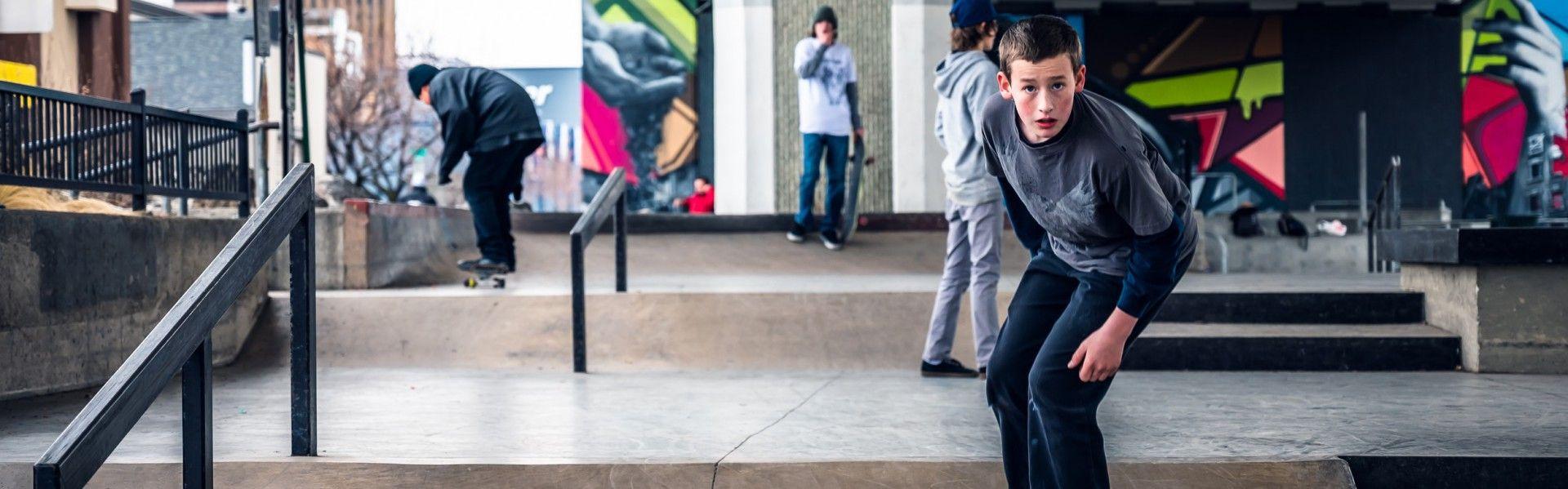 a boy skateboarding